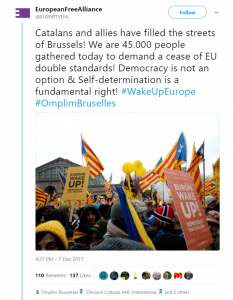 Tweet Catalan rally Brussels